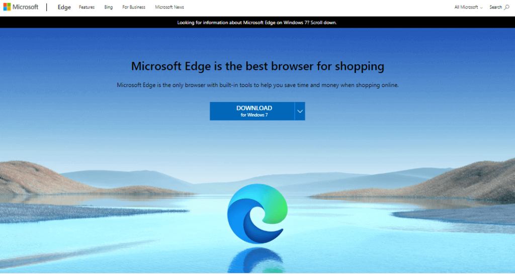 Edge download page for Windows