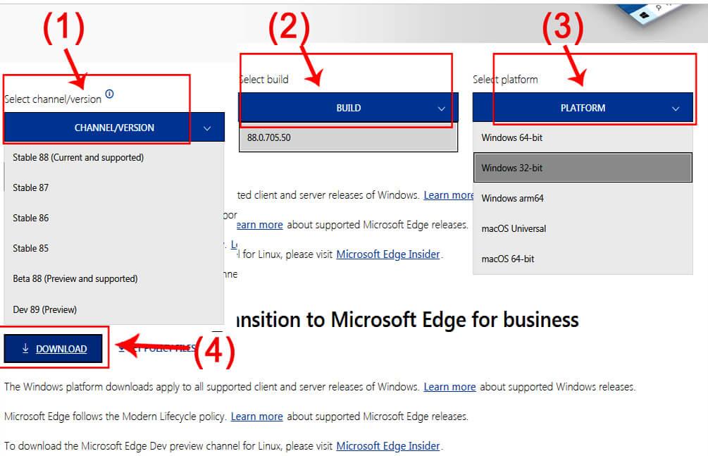 Steps to download Edge Offline installer